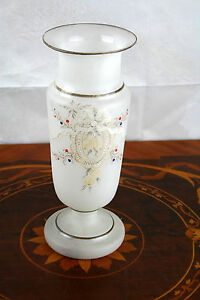 French opaline glass enameled vase 1920