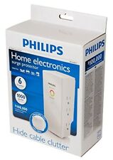 NEW! PHILIPS Home Electronics Surge Protector Hide Cable Clutter SPP3060B/17