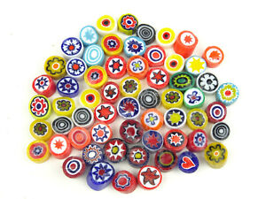 25g Mixed Medium Millefiori 7 to 8mm. Approx 60 pieces