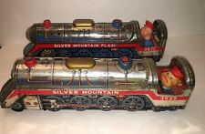TOY TRAINS TIN LITHO BATTERY-OP BUMP-N-GO SILVER MOUNTAIN SET Of 2 1970's