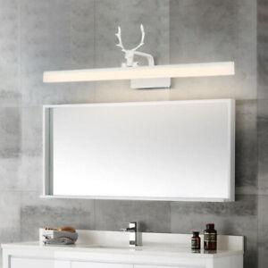 Wall Fixture  Makeup Mirror Front Vanity Light Washroom Restroom Black Antler