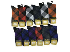 12 Pairs GoldStar Mens Argyle Diamond Dress Socks Cotton Multi Color Size 10-13