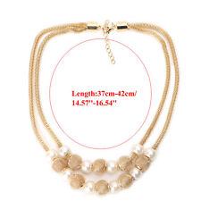 Women Pendant Chain Choker Chunky Pearl Statement Bib Necklace Jewelry