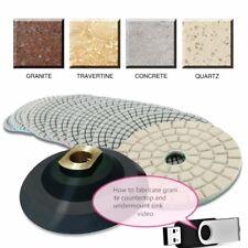 "4"" Granite Marble Polishing 45+3 Pad countertop sink cut stone fabrication video"