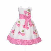 New Girls Heart Shaped Party Dress in Red Pink Black 5 6 7 8 9 10 Years