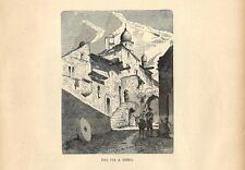 Stampa antica TENDA scorcio della località con figure Cuneo 1885 Antique print
