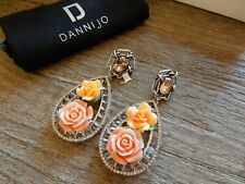 NEW Dannijo Dinah Emellished Rose and Swarovski Crystal dangle drop Earrings