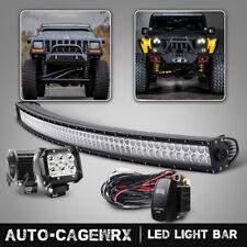 "50 inch Curved LED Light Bar + 2x 4in LED Fog Lights Pods Truck SUV ATV 50"""