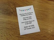 10 Personalised Wedding Lottery Ticket Envelopes Holders Rustic Bunting Favours