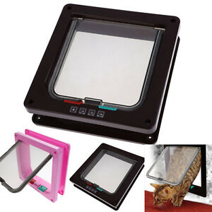 3 Sizes Pet Cat Safe 4 Way Locking Flap Screen Door Lockable Small Dog Frame A
