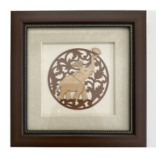 Framed Indian Elephant Picture Hand-Made and Carved From Wood