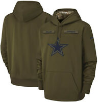 2018 Dallas Cowboys Nike Olive Salute To Service Men's Sideline Therma Hoodie