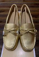 NIB Size 5 Michael Kors Sutton Moc Metallic Leather Old Gold