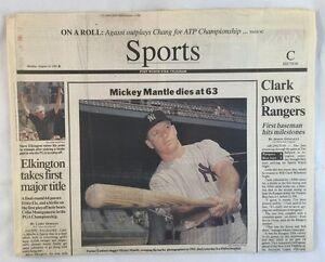 8-14-1995 Mickey Mantle Dies At 63 Newspaper Fort Worth Star Telegram Sports Sec