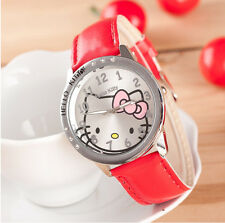 Hello Kitty Clear Austrian Rhinestone Girls Wrist Quartz Watch - Red