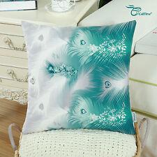 Cushion Covers Pillows Shells Case Fantasy Peacock Feathers Print Sofa 45 X 45cm Teal