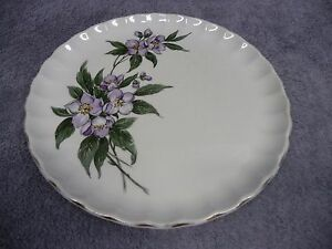 """W. S. George Luncheon Plate 9 1/4"""" Green Leaves Purple Flowers Gold Trim Fluted"""