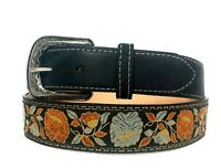 WOMEN'S BLACK WESTERN COWBOY BELT FLORAL EMBROIDERED GENUINE LEATHER  RODEO BELT