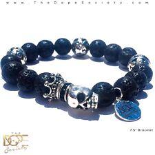 Men's Lava Bead Bracelet, Skull Charm Bead Bracelet, Silver Skull Bead Bracelet