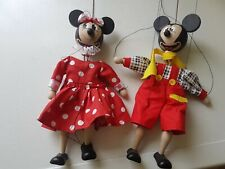 New Vintage Cesky Vyrobek Wooden Marionette Puppets Disney Mickey & Minnie Mouse