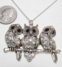 Lg Adorable 3 Owls Pendant Necklace, Perched on Branch, White/Black Rhinestones