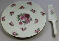Formalities By Baum Bros Deep Burgundy & Pink Rose Cake Plate & Server