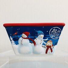 """St Nicholas Square Winter Retreat 6"""" Soup Cereal Bowl Christmas Snowmen Deer"""