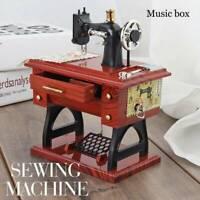 Vintage Music Box Mini Sewing Machine Musical Mechanical Mahogany Gift