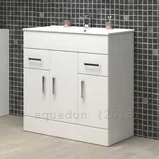 Bathroom Vanity Unit & Basin 800mm Turin Gloss White Soft Close Doors & Drawers