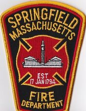 Springfield Fire Dept. MA Firefighter Patch  NEW!!