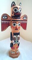 "Inuit Alaskan Tribal Wood Totem Pole 16.8"" Carved Painted Signed Patrick Seale"