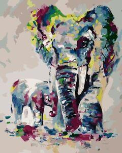 Cartoon Elephants Paint By Numbers Kit Acrylic Oil Painting Adult Kids Canvas UK