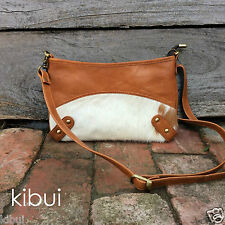 Cowhide Leather Small Sling Bag in Tan and White Kibui NEW
