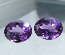 A PAIR OF 5x3mm OVAL-FACET DEEP-PURPLE NATURAL AFRICAN AMETHYST GEMSTONES