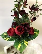 SILK FLOWER ARRANGEMENT ARTIFICIAL BURGUNDY MAGNOLIA PEONY  DIY FLORAL FLOWERS