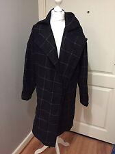 All Saints Ink Blue Wool IZA Check Oversized Jacket Coat UK 6 ( Fits Up To 14 )