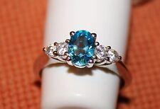 Aqua blue crystal ring size N
