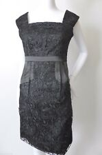 PROJECT D Size 8  US 4 Sleeveless Black Silk And Lace Sheath Dress  rrp $895.00