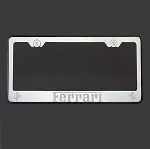 Polish Mirror Stainless Steel Ferrari Laser Etched License Plate Frame Screw Cap