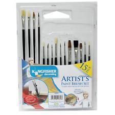 15pc VERNICE assortiti Brush Set Classico artista FLAT ROUND PUNTA VERNICE Art Craft