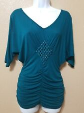 DAYTRIP by Buckle Teal blouse Metal Studded Short Sleeve Sz S. Crocheted Ruching