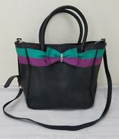 Mimosa Brand Women's Hand Bag Black Color Large Size Purple and Green Bow Cute!