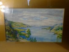 Framed Antique Original Watercolor Painting Seashore Inlet through Wooded Hills