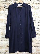 Gap 100% Silk Blue Long Sleeve Dotted Button Down Women's Casual Shirt Dress 6
