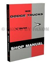 1958 Dodge Truck Shop Manual Pickup Power Wagon Panel Big Truck Repair Service