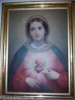 Cuadro religioso SAGRADO CORAZON DE MARIA Antiguo CARTON LITOGRAFICO Siglo XlX