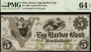 1861 $5 EGG HARBOR CITY BANK NOTE NEW JERSEY LARGE CURRENCY PMG 64 EPQ