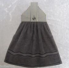 Jazberryz Charcoal/cream Stripe Kitchen Hanging Hand Towel Button Close