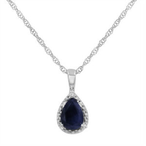 14K White Gold  Sapphire and Diamond Tear Drop Pendant