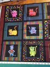 New listing Cool Cats #970 By Loralie Designs 2005 15 Block Panel Bright MultiColor quilting